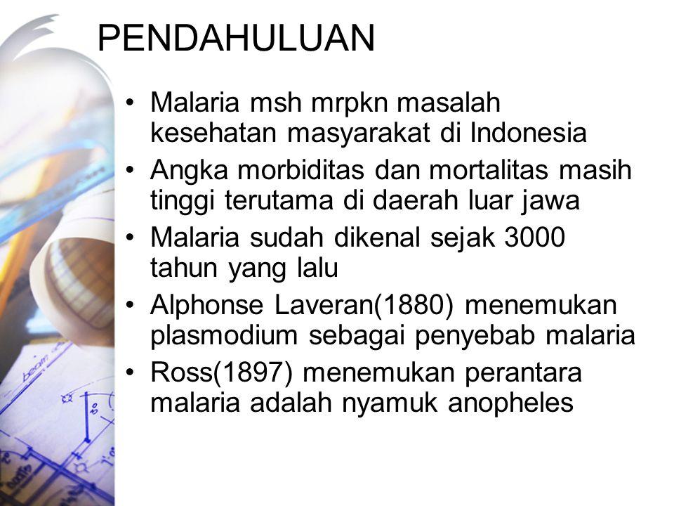PENDAHULUAN Malaria msh mrpkn masalah kesehatan masyarakat di Indonesia. Angka morbiditas dan mortalitas masih tinggi terutama di daerah luar jawa.