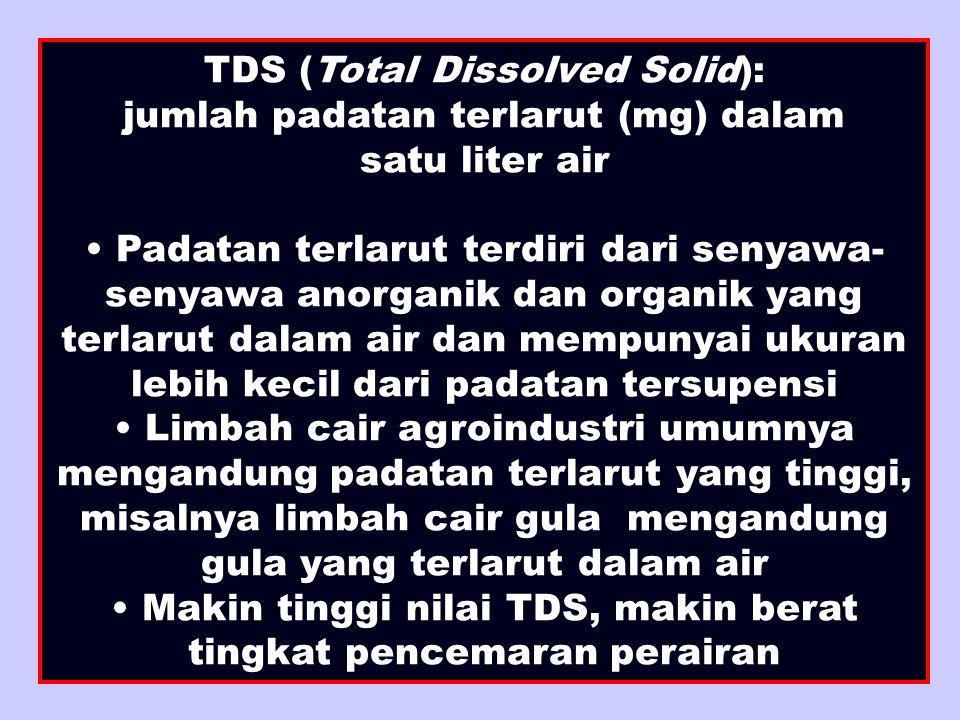 TDS (Total Dissolved Solid): jumlah padatan terlarut (mg) dalam