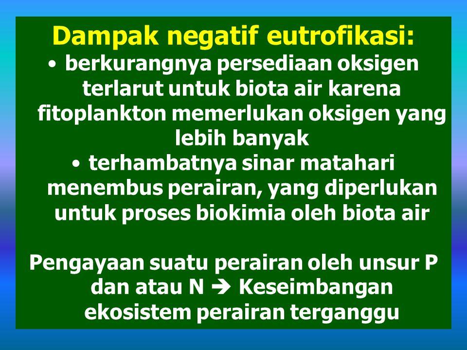 Dampak negatif eutrofikasi: