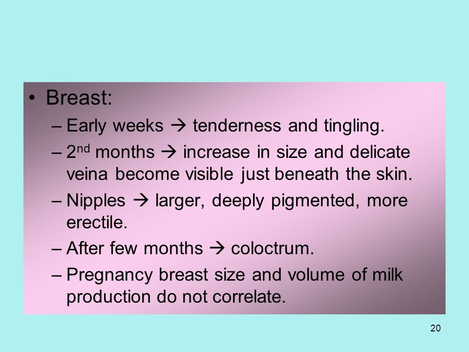 Breast: Early weeks  tenderness and tingling.