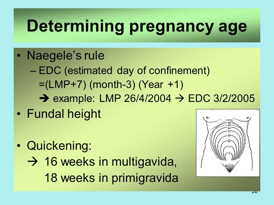 Determining pregnancy age