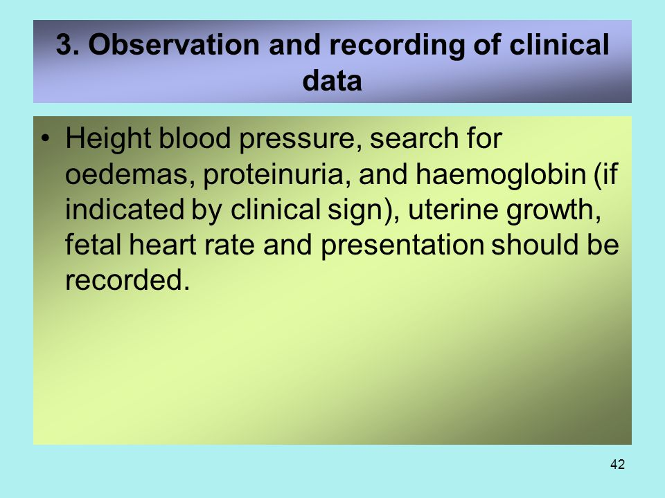 3. Observation and recording of clinical data
