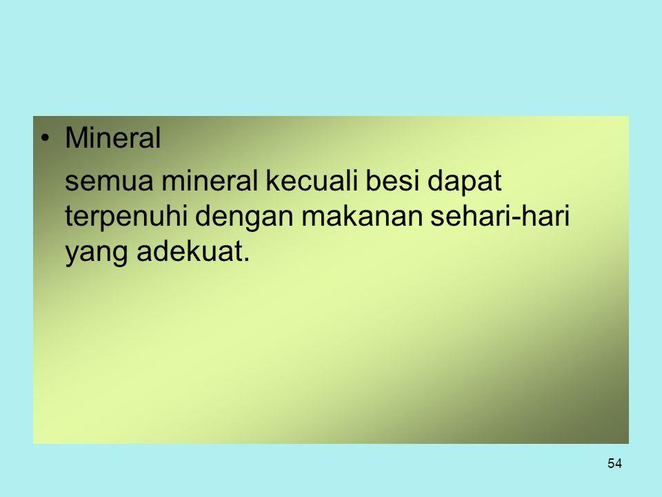 Mineral semua mineral kecuali besi dapat terpenuhi dengan makanan sehari-hari yang adekuat.