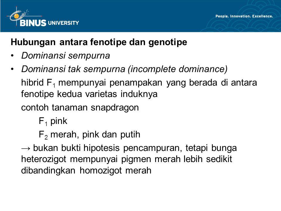 Hubungan antara fenotipe dan genotipe