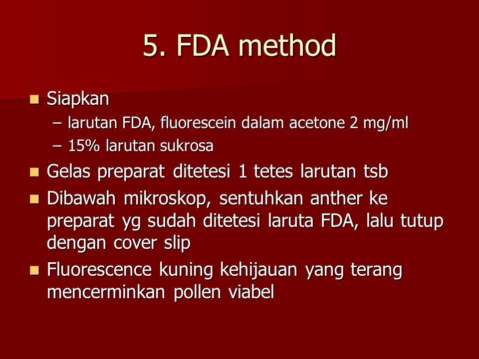 5. FDA method Siapkan Gelas preparat ditetesi 1 tetes larutan tsb