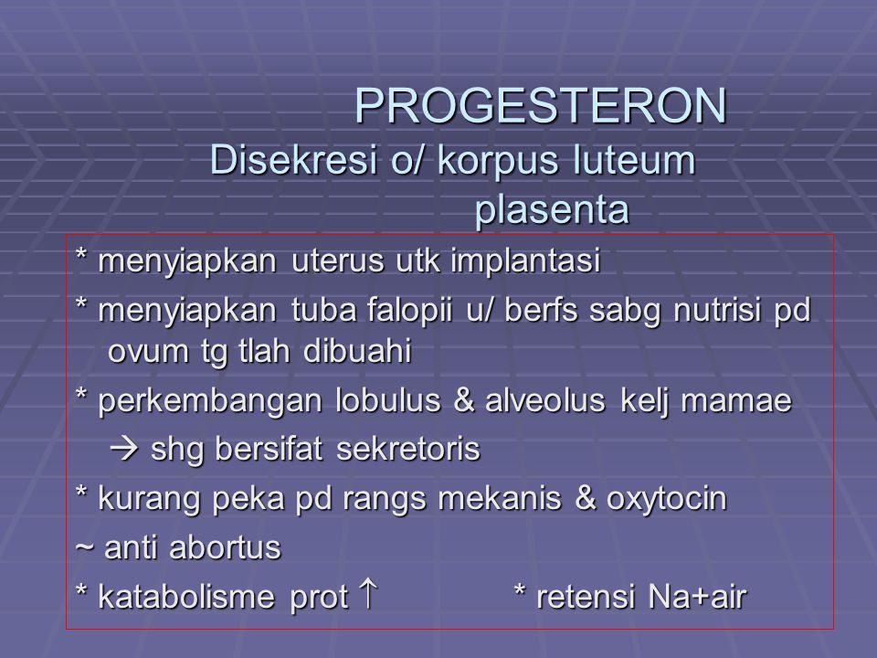 PROGESTERON Disekresi o/ korpus luteum plasenta