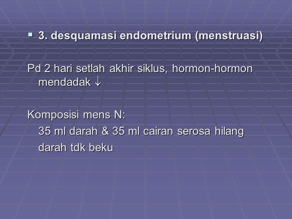 3. desquamasi endometrium (menstruasi)