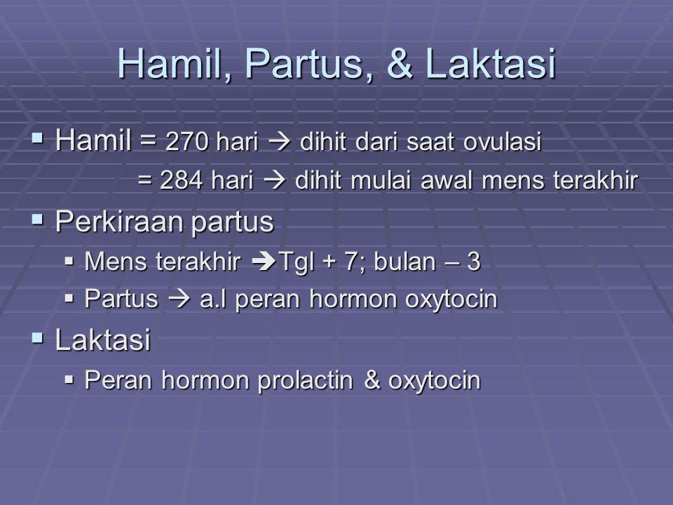 Hamil, Partus, & Laktasi Hamil = 270 hari  dihit dari saat ovulasi