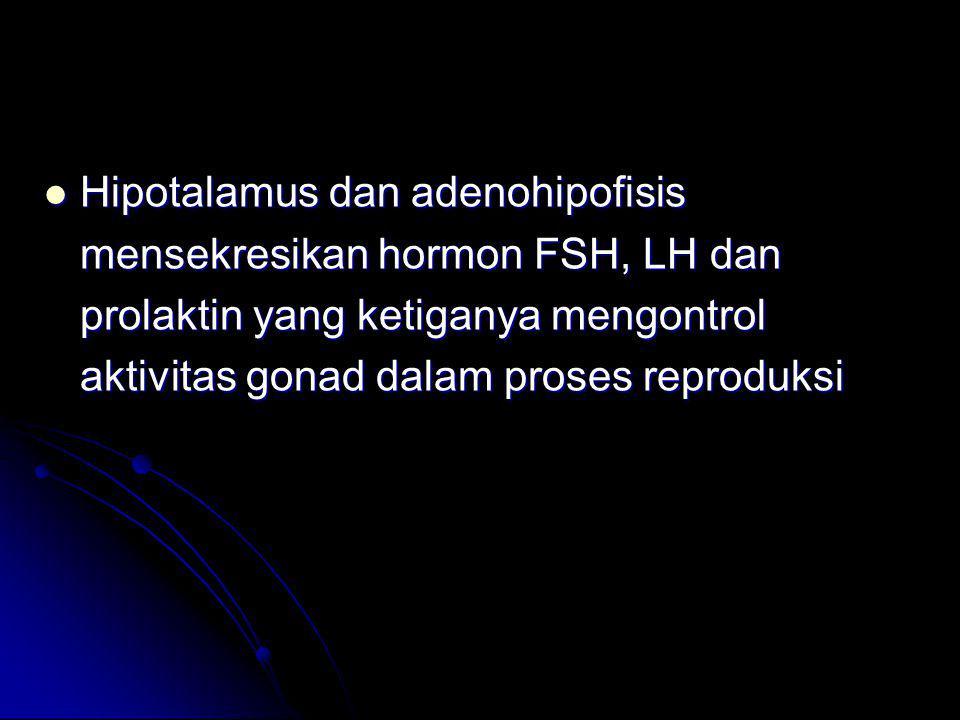 Hipotalamus dan adenohipofisis mensekresikan hormon FSH, LH dan prolaktin yang ketiganya mengontrol aktivitas gonad dalam proses reproduksi