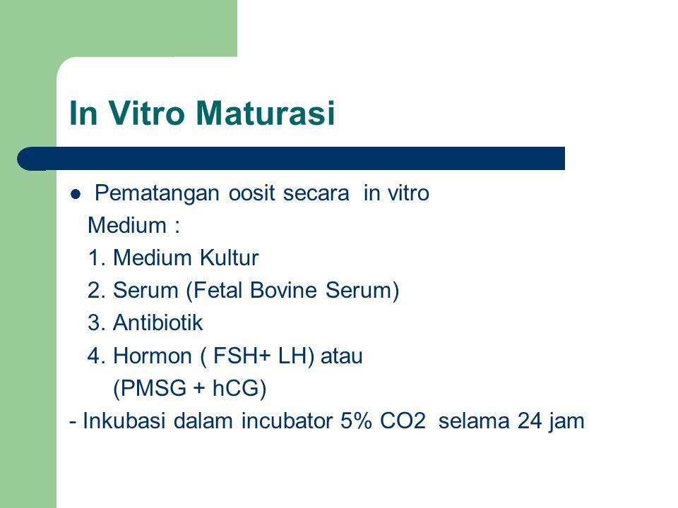 In Vitro Maturasi Pematangan oosit secara in vitro Medium :