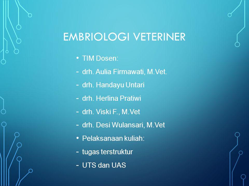 EMBRIOLOGI VETERINER TIM Dosen: drh. Aulia Firmawati, M.Vet.
