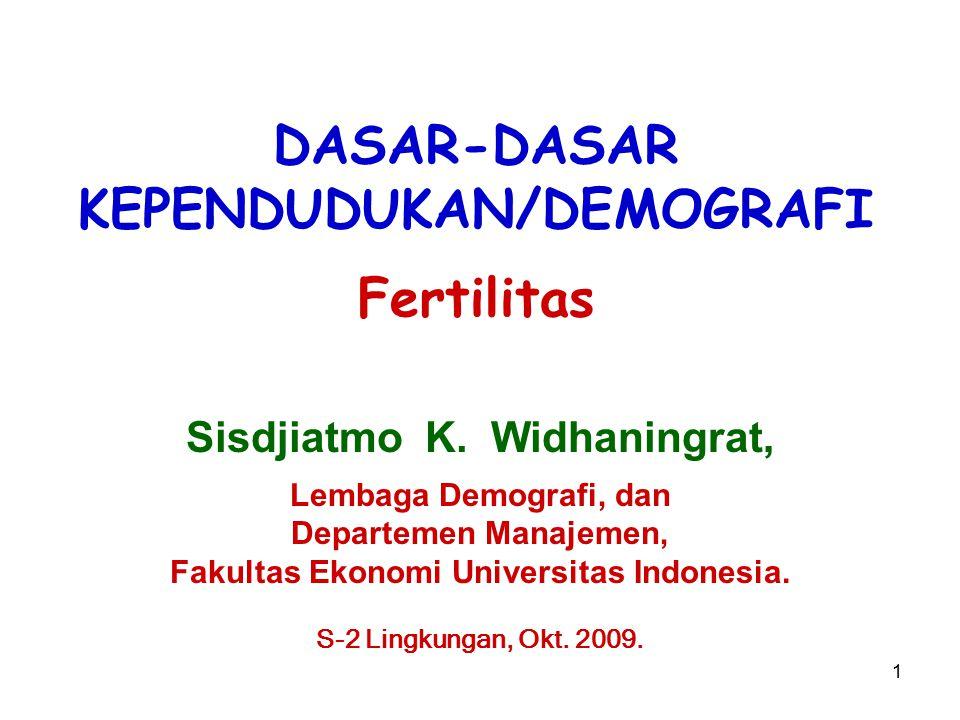 DASAR-DASAR KEPENDUDUKAN/DEMOGRAFI Fertilitas