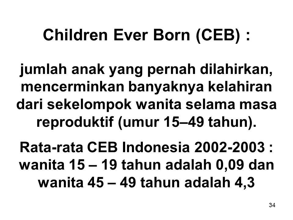 Children Ever Born (CEB) : jumlah anak yang pernah dilahirkan, mencerminkan banyaknya kelahiran dari sekelompok wanita selama masa reproduktif (umur 15–49 tahun).