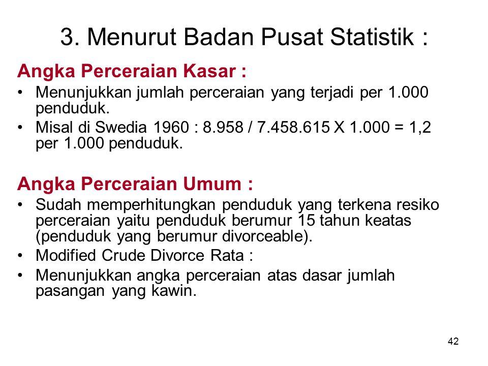 3. Menurut Badan Pusat Statistik :