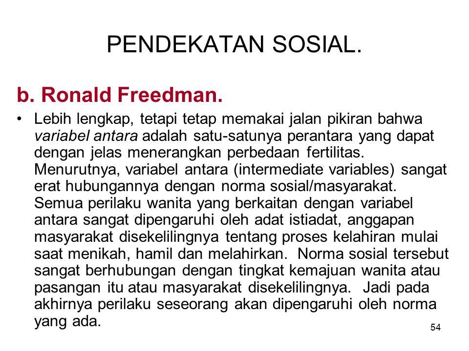 PENDEKATAN SOSIAL. b. Ronald Freedman.
