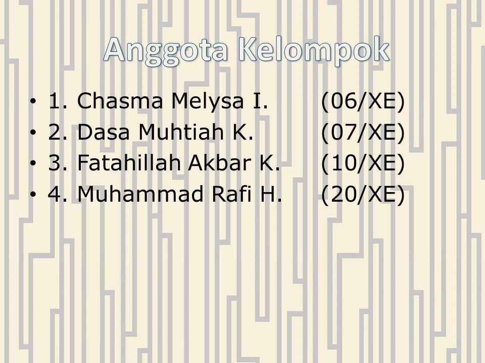 Anggota Kelompok 1. Chasma Melysa I. (06/XE)