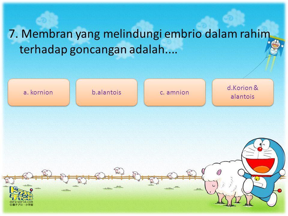 7. Membran yang melindungi embrio dalam rahim terhadap goncangan adalah....