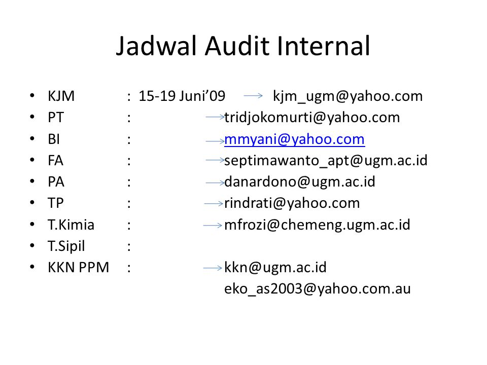 Jadwal Audit Internal KJM : 15-19 Juni'09 kjm_ugm@yahoo.com