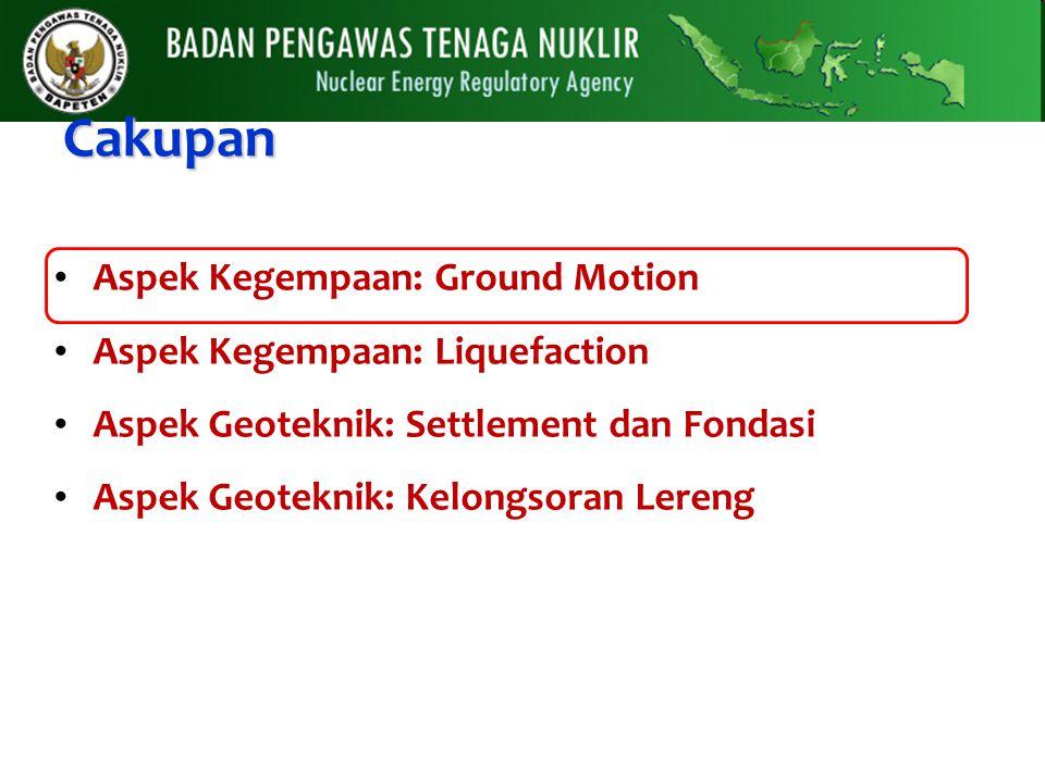 Cakupan Aspek Kegempaan: Ground Motion Aspek Kegempaan: Liquefaction