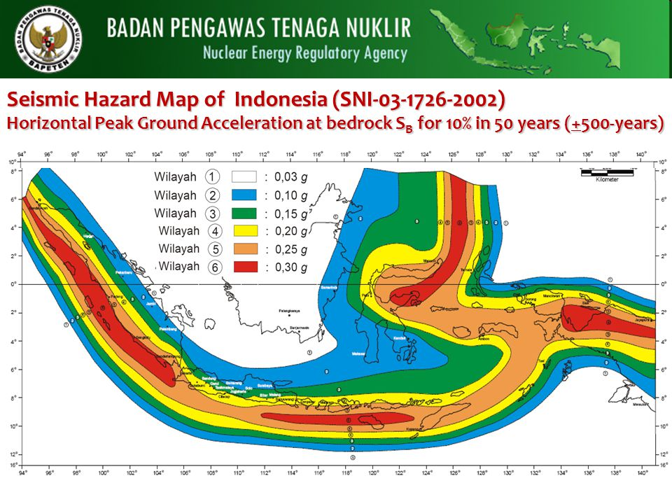 Seismic Hazard Map of Indonesia (SNI-03-1726-2002) Horizontal Peak Ground Acceleration at bedrock SB for 10% in 50 years (+500-years)