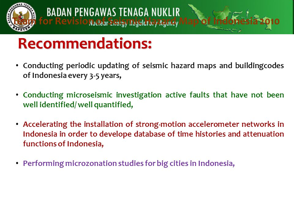 Team for Revision of Seismic Hazard Map of Indonesia 2010