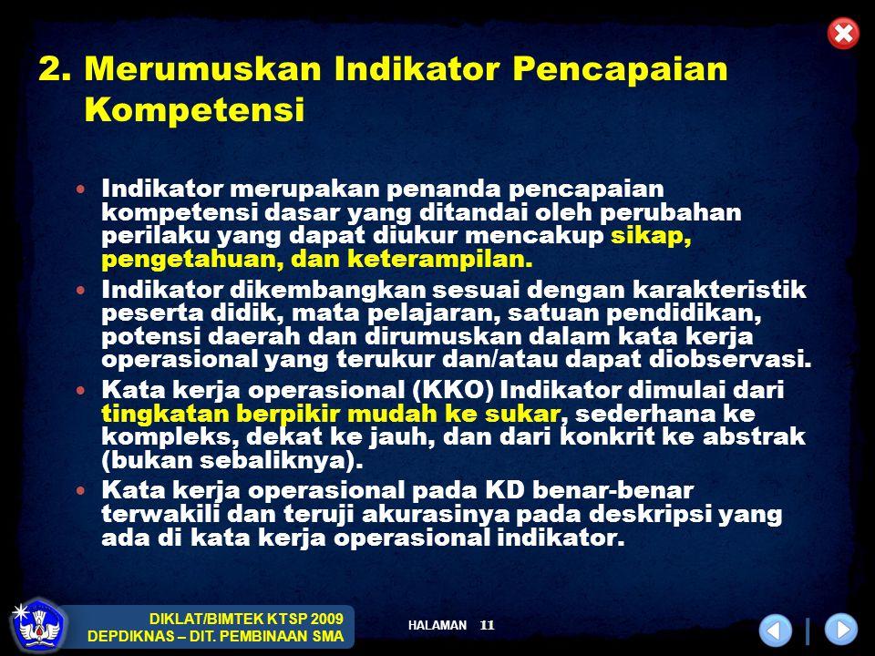 2. Merumuskan Indikator Pencapaian Kompetensi