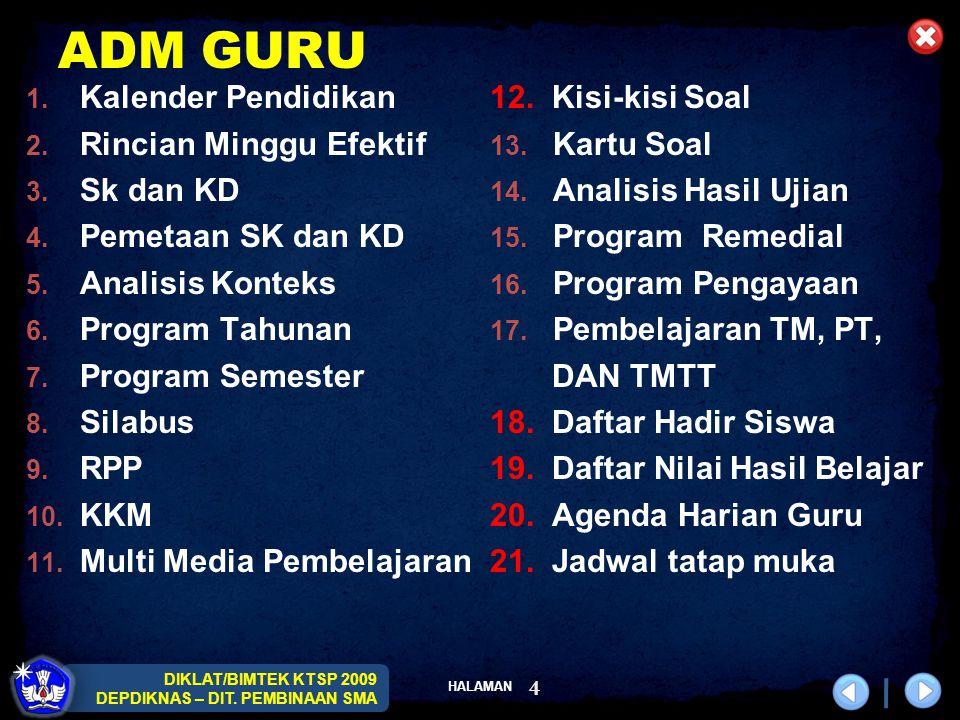 ADM GURU Kalender Pendidikan Rincian Minggu Efektif Sk dan KD