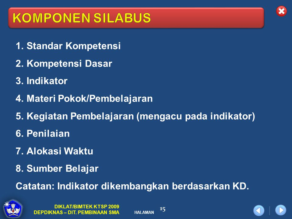 KOMPONEN SILABUS Standar Kompetensi Kompetensi Dasar Indikator
