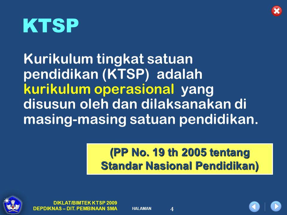 (PP No. 19 th 2005 tentang Standar Nasional Pendidikan)