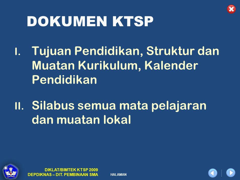 DOKUMEN KTSP Tujuan Pendidikan, Struktur dan Muatan Kurikulum, Kalender Pendidikan.