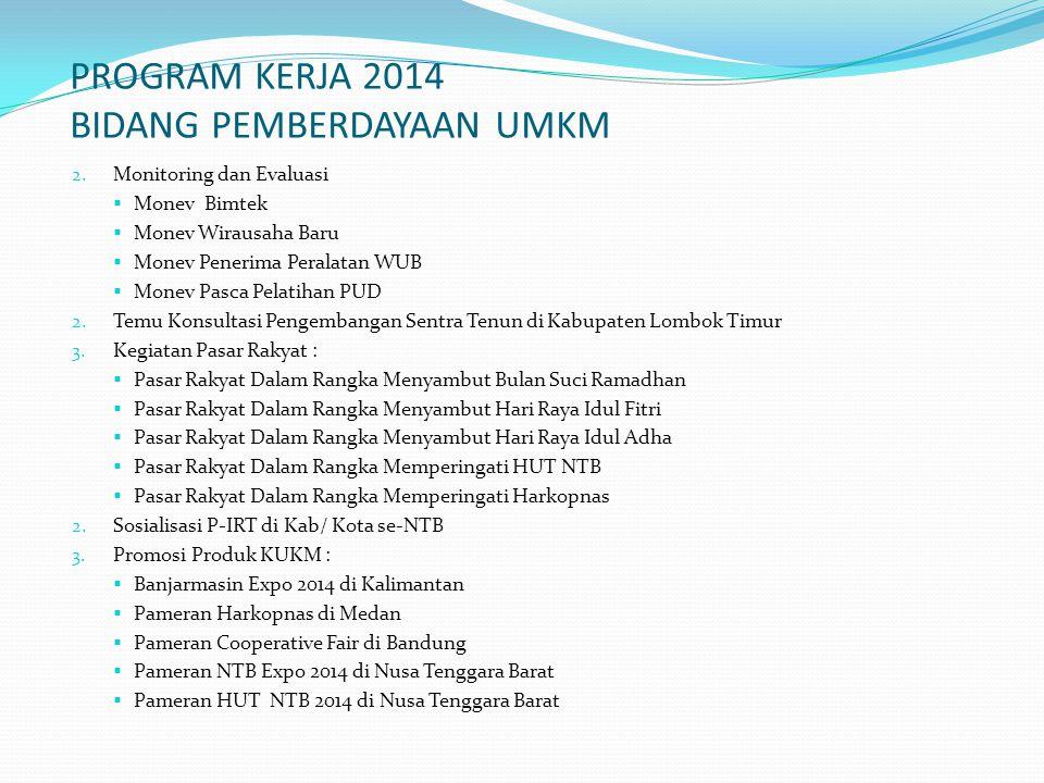 PROGRAM KERJA 2014 BIDANG PEMBERDAYAAN UMKM