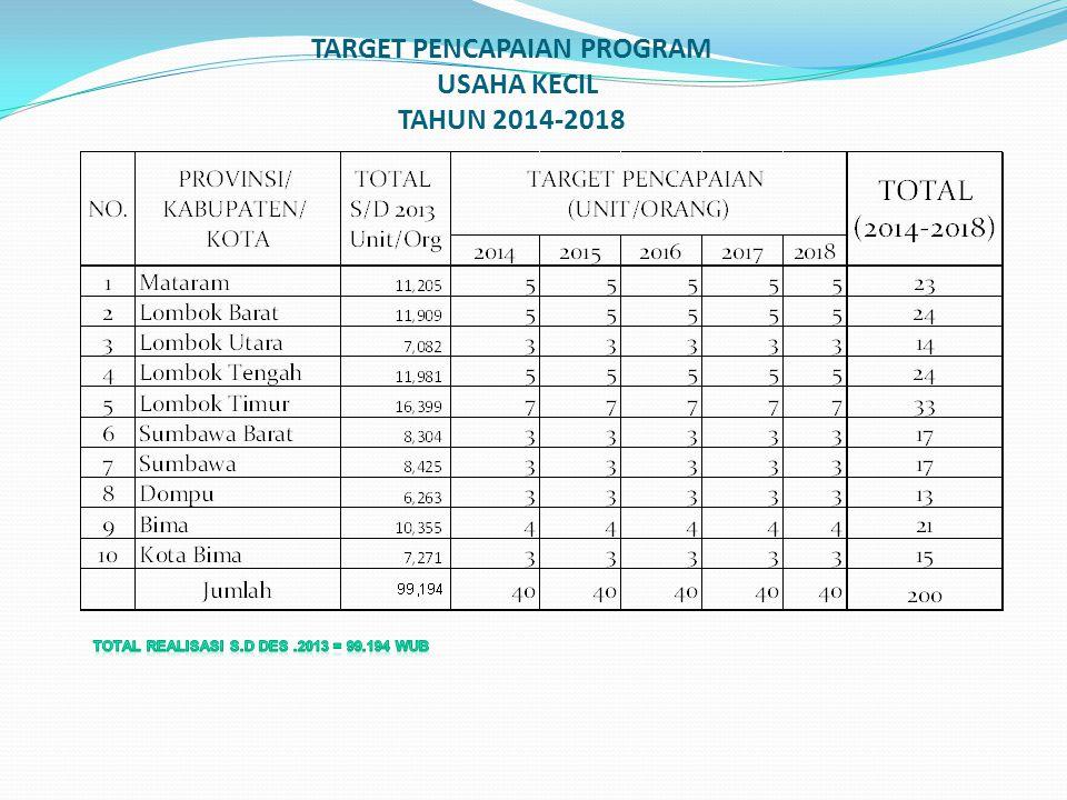 TARGET PENCAPAIAN PROGRAM USAHA KECIL TAHUN 2014-2018