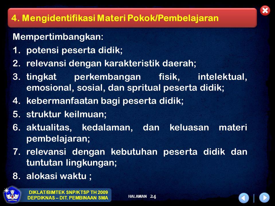 4. Mengidentifikasi Materi Pokok/Pembelajaran