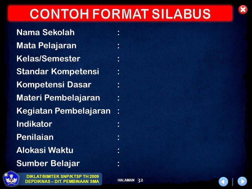 CONTOH FORMAT SILABUS Nama Sekolah : Mata Pelajaran : Kelas/Semester :