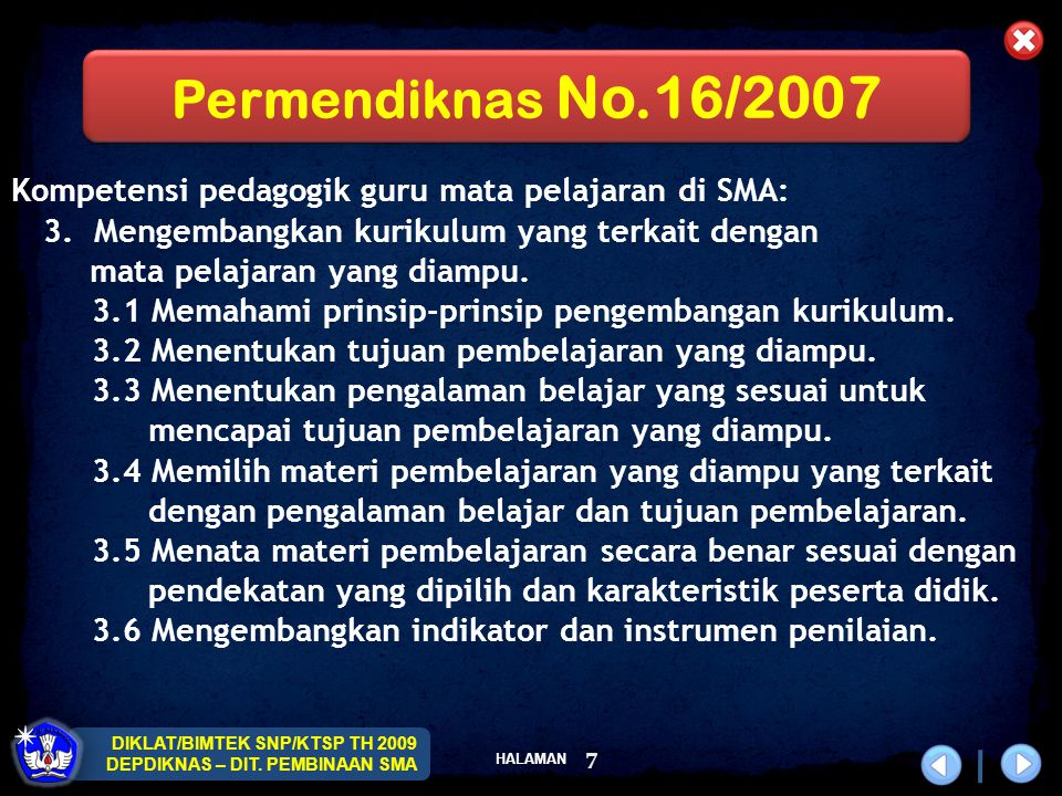 Permendiknas No.16/2007 Kompetensi pedagogik guru mata pelajaran di SMA: 3. Mengembangkan kurikulum yang terkait dengan.