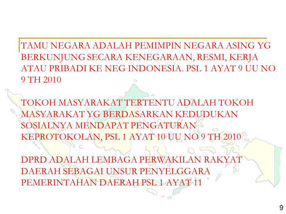TAMU NEGARA ADALAH PEMIMPIN NEGARA ASING YG BERKUNJUNG SECARA KENEGARAAN, RESMI, KERJA ATAU PRIBADI KE NEG INDONESIA. PSL 1 AYAT 9 UU NO 9 TH 2010 TOKOH MASYARAKAT TERTENTU ADALAH TOKOH MASYARAKAT YG BERDASARKAN KEDUDUKAN SOSIALNYA MENDAPAT PENGATURAN KEPROTOKOLAN, PSL 1 AYAT 10 UU NO 9 TH 2010 DPRD ADALAH LEMBAGA PERWAKILAN RAKYAT DAERAH SEBAGAI UNSUR PENYELGGARA PEMERINTAHAN DAERAH PSL 1 AYAT 11