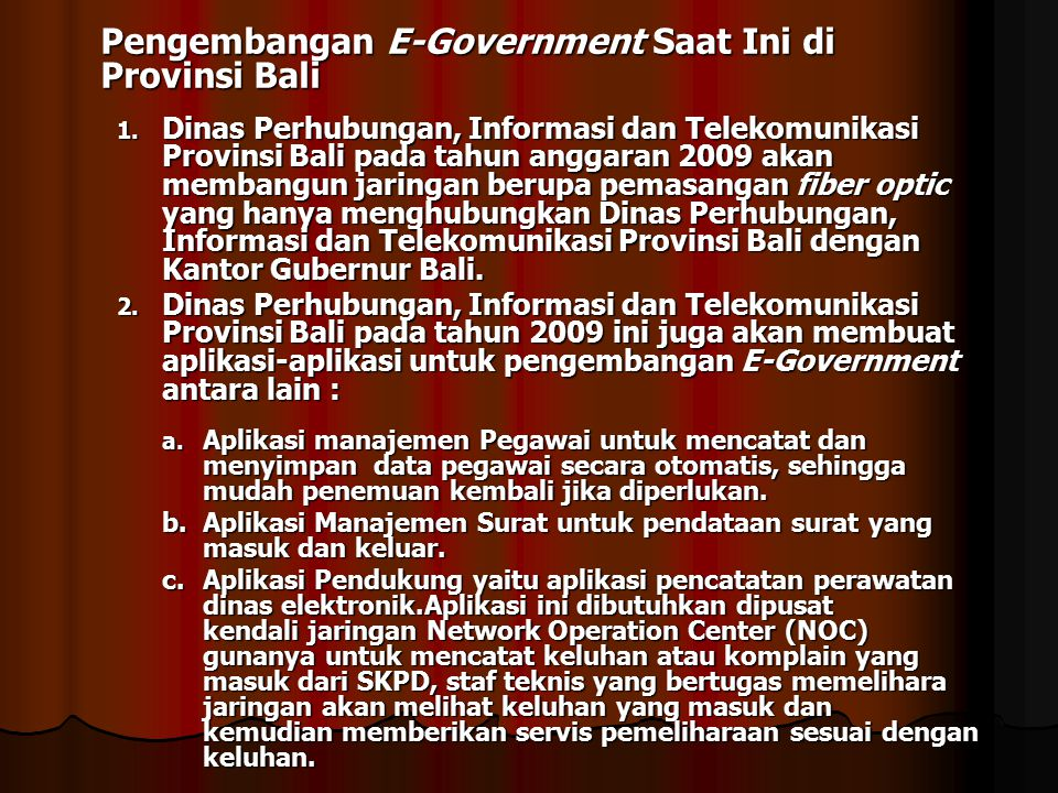 Pengembangan E-Government Saat Ini di Provinsi Bali