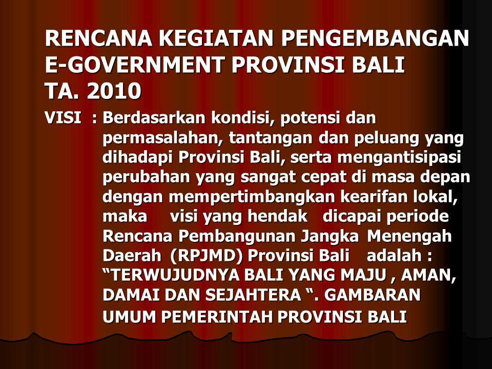 RENCANA KEGIATAN PENGEMBANGAN E-GOVERNMENT PROVINSI BALI TA. 2010