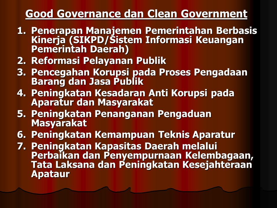 Good Governance dan Clean Government