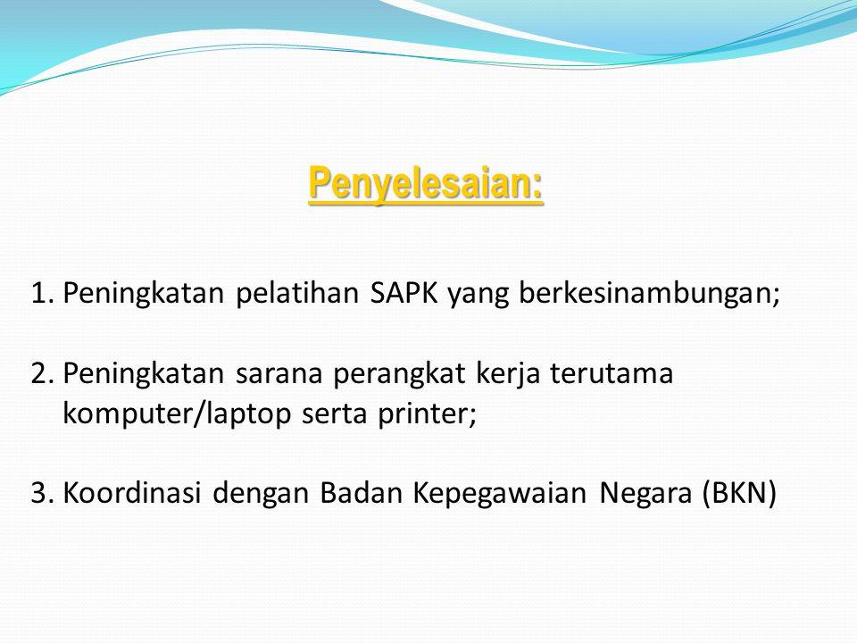 Penyelesaian: Peningkatan pelatihan SAPK yang berkesinambungan;
