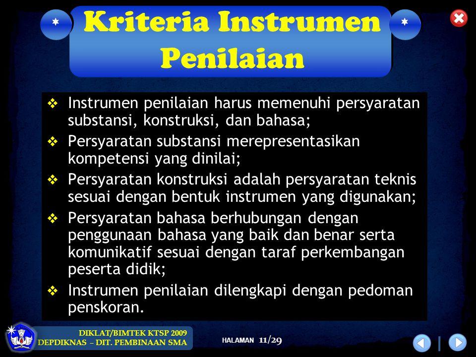 Kriteria Instrumen Penilaian