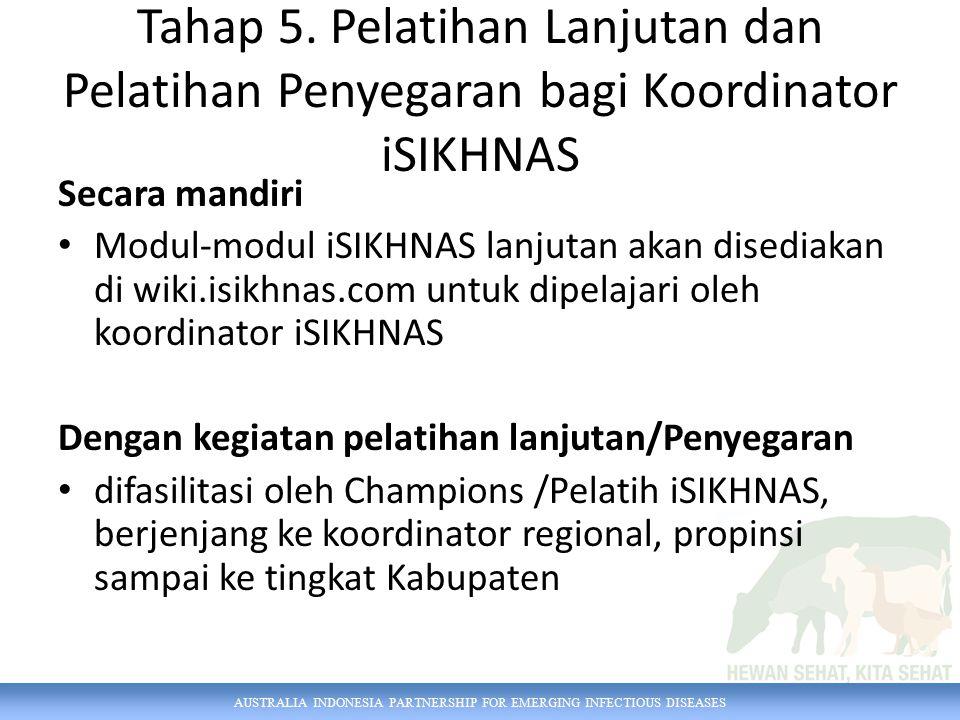 Tahap 5. Pelatihan Lanjutan dan Pelatihan Penyegaran bagi Koordinator iSIKHNAS