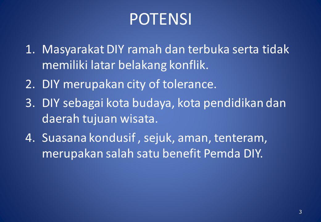 POTENSI Masyarakat DIY ramah dan terbuka serta tidak memiliki latar belakang konflik. DIY merupakan city of tolerance.