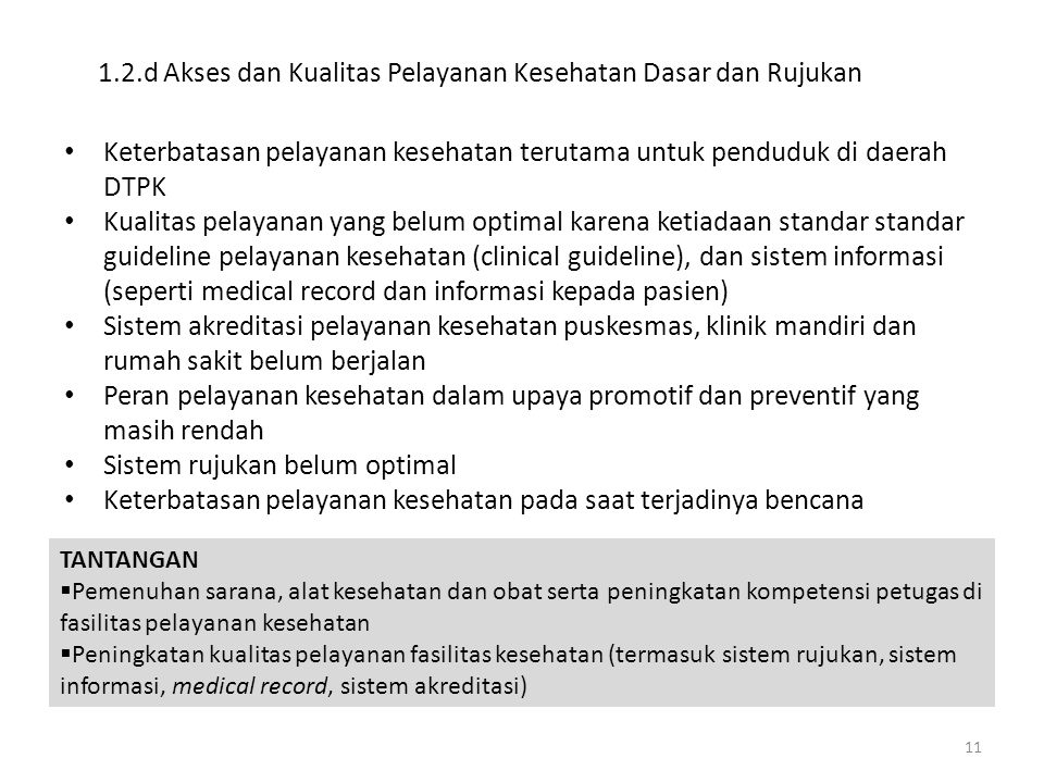 1.2.d Akses dan Kualitas Pelayanan Kesehatan Dasar dan Rujukan