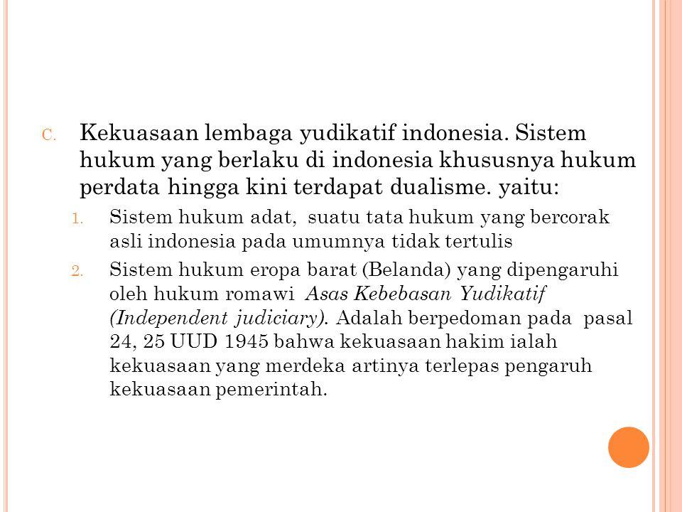 Kekuasaan lembaga yudikatif indonesia
