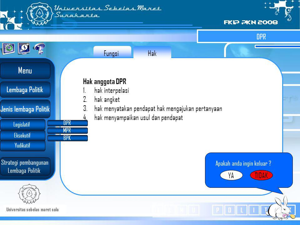 Menu DPR Fungsi Hak Hak anggota DPR hak interpelasi hak angket