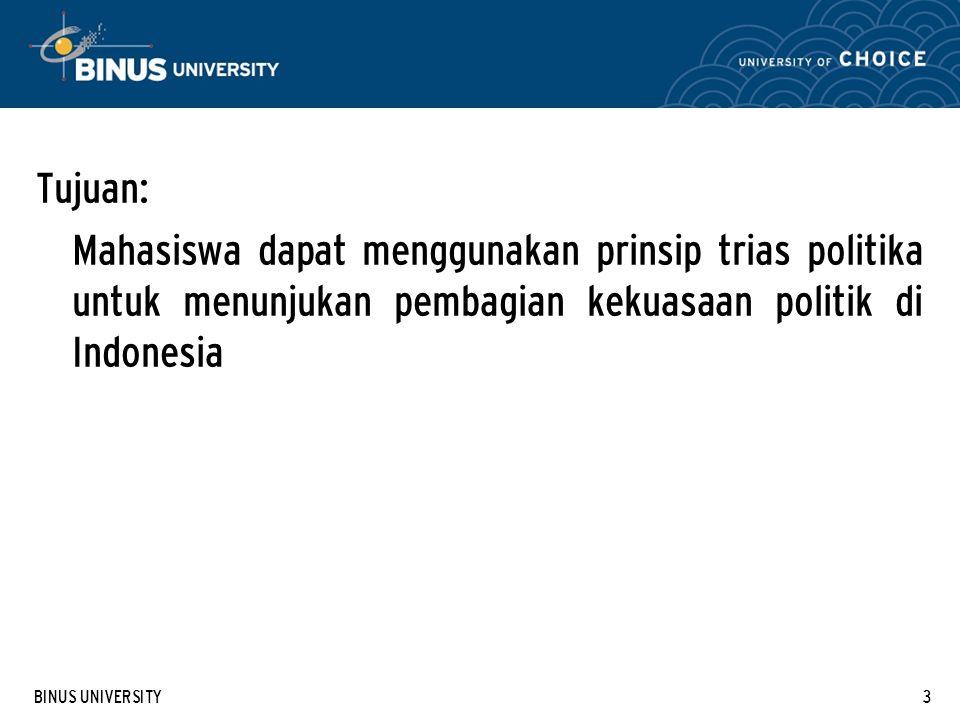 Tujuan: Mahasiswa dapat menggunakan prinsip trias politika untuk menunjukan pembagian kekuasaan politik di Indonesia.