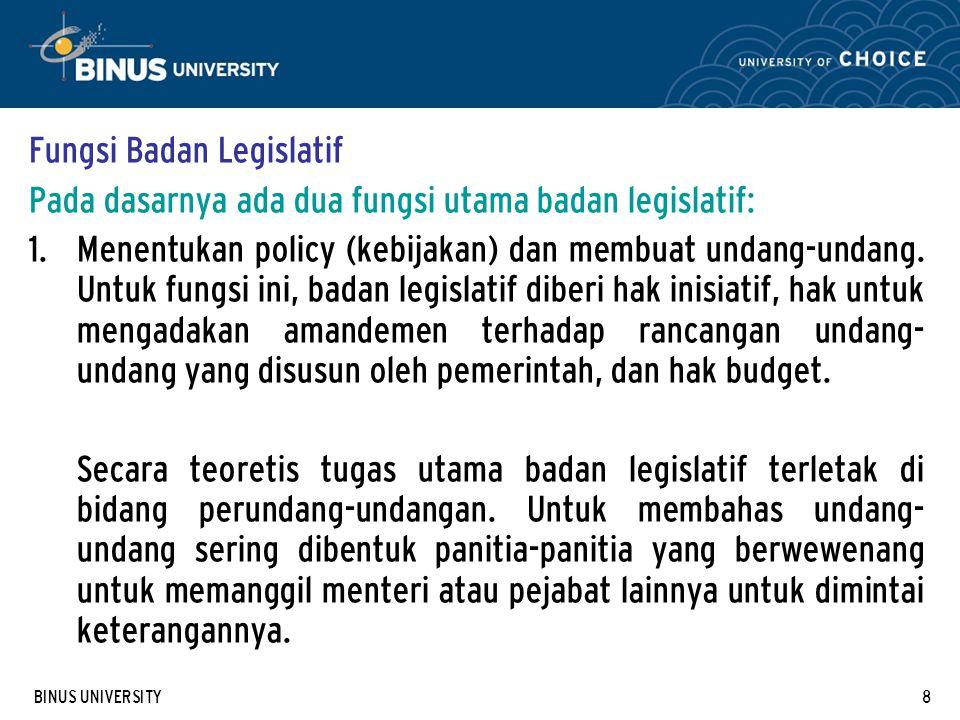 Fungsi Badan Legislatif