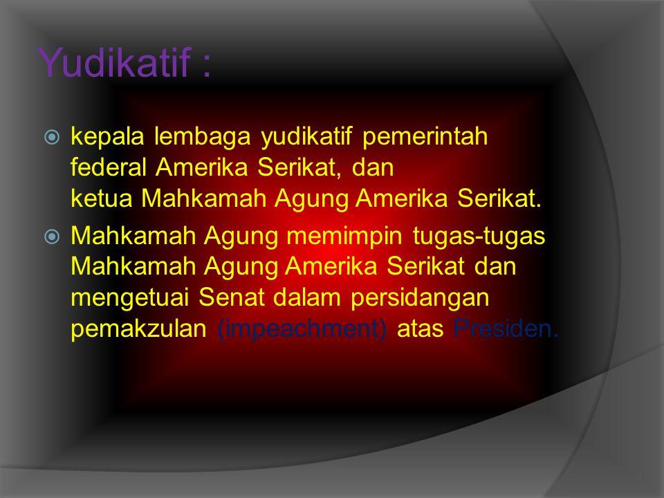 Yudikatif : kepala lembaga yudikatif pemerintah federal Amerika Serikat, dan ketua Mahkamah Agung Amerika Serikat.