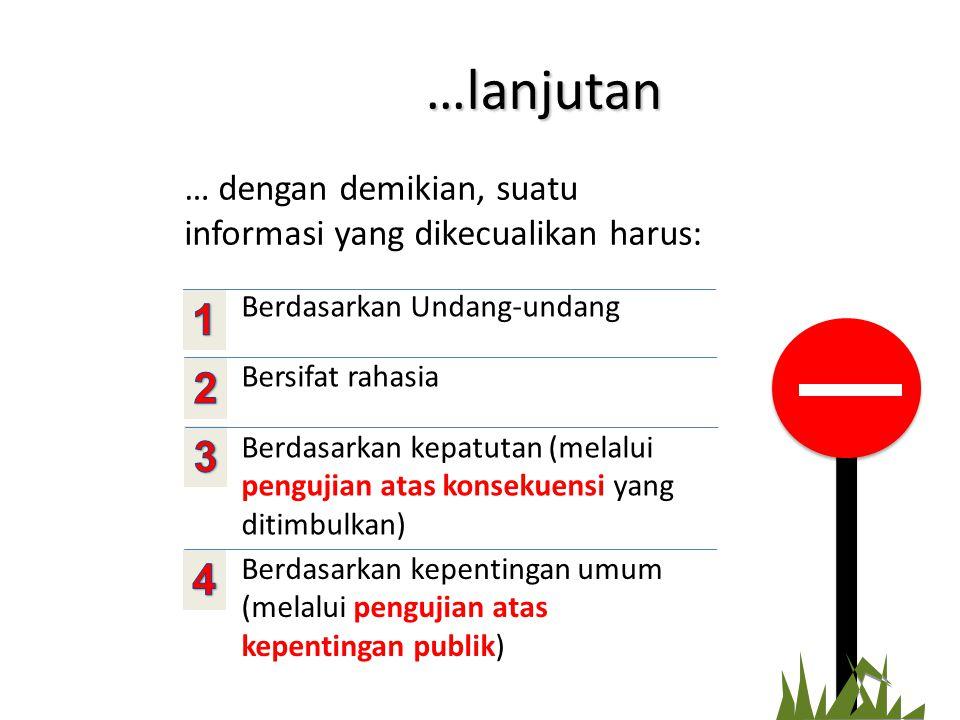 …lanjutan … dengan demikian, suatu informasi yang dikecualikan harus: Berdasarkan Undang-undang. 1.